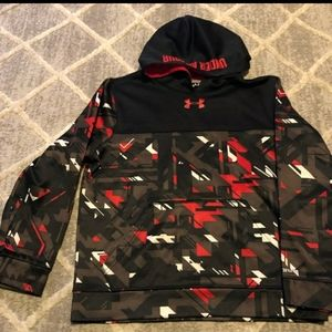Youth Large Black Red & White Under Armour Hoodie